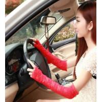 Перчатки кружевные без пальчиков длинные красные