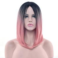Парик омбре розовый, парик розовый каре