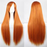 Парик длинный рыжий без челки прямые волосы