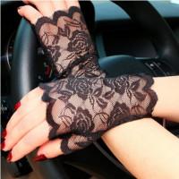 Перчатки черные кружевные, перчатки без пальцев кружевные