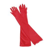 Перчатки атласные красные выше локтя