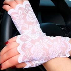 Купить Перчатки белые кружевные, перчатки без пальцев кружевные
