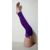 Гетры фиолетовые шерстяные с помпонами