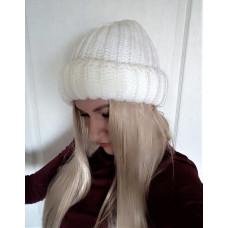 Купить Теплая объемная шапка крупная вязка белого цвета