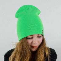 Шапка чулок зеленая, шапка зеленая, шапка бини зеленая