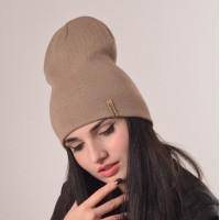 Шапка-чулок бежевая теплая вязаная шапка унисекс