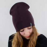 Шапка-чулок бордовая теплая шапка унисекс