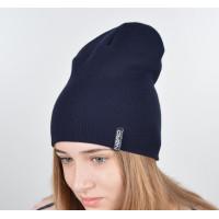 Шапка-чулок теплая шапка бини темно-синяя унисекс