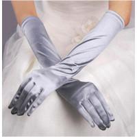 Перчатки атласные серые