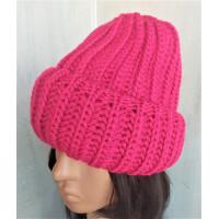 Теплая объемная шапка крупная вязка, шапка малиновая, шапка модная