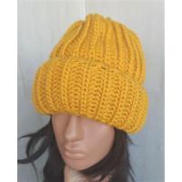 Теплая объемная шапка крупная вязка, шапка желтая, шапка модная