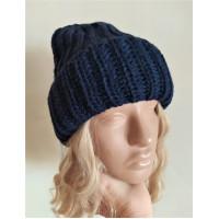 Теплая объемная шапка крупная вязка, шапка синяя, шапка модная