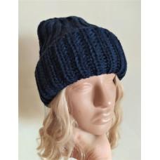 Купить Теплая объемная шапка крупная вязка, шапка синяя, шапка модная